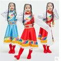 Ano novo Crianças Traje Dança Das Minorias Étnicas Exquisite Colorful Rainbow Vestido Kid Vestido Estilo Tibetano Nacionalidade Mongol