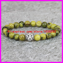 1PCS Top Selling New Product natural Straw Yellow Pine Stone Beads Protection Silver Lion head Bracelet,Men Jewelry,Stretch Yoga