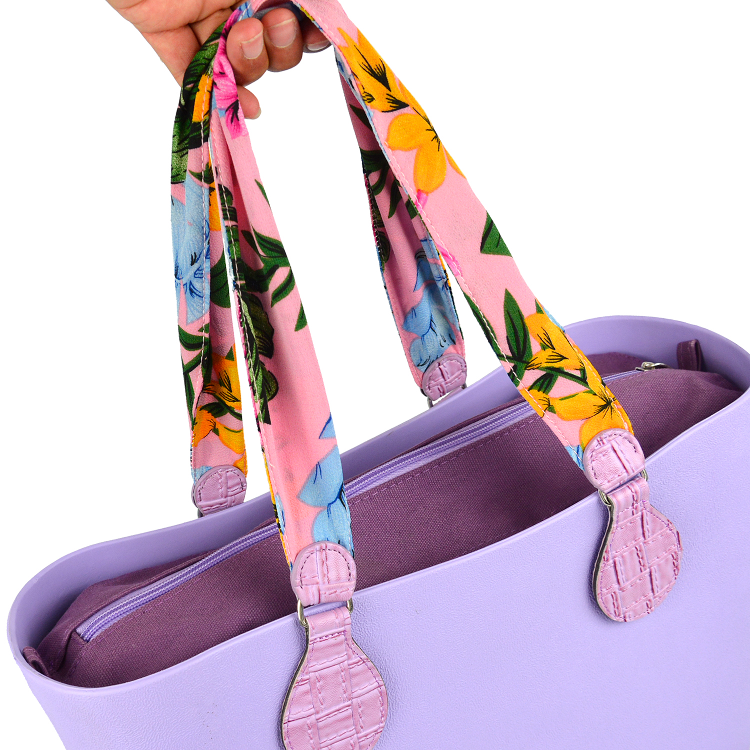 Image 5 - 2019 New 1 Pair Soft Floral Fabric Handle with Patchwork Drop End for Bag O Bag Handles for EVA Obag Handbag Womens BagsBag Parts & Accessories   -