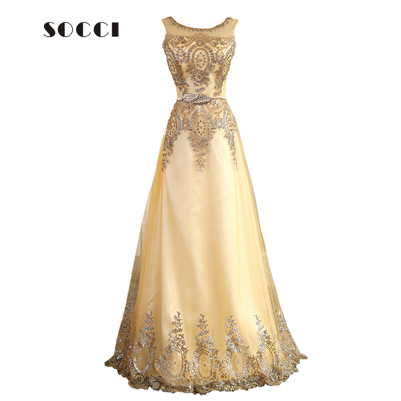 2016 tulle lace muslim gold evening dress long beading formal gown prom embroidery robe de soiree