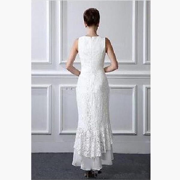 White Lace 2 Pieces Dress Elegant High Low Mother Of The Bride Dress Vestido De Festa Longo