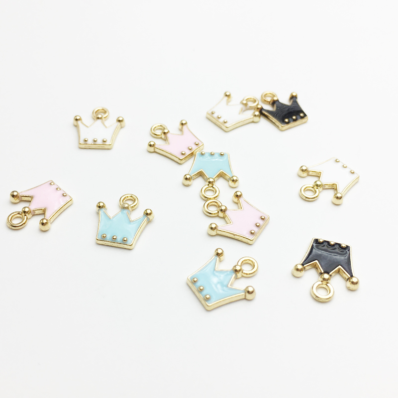 30pcs/pack 11*12mm Gold Color Tone Charm Pendants Alloy Metal Enamel Charms For DIY Jewelry Making(China)