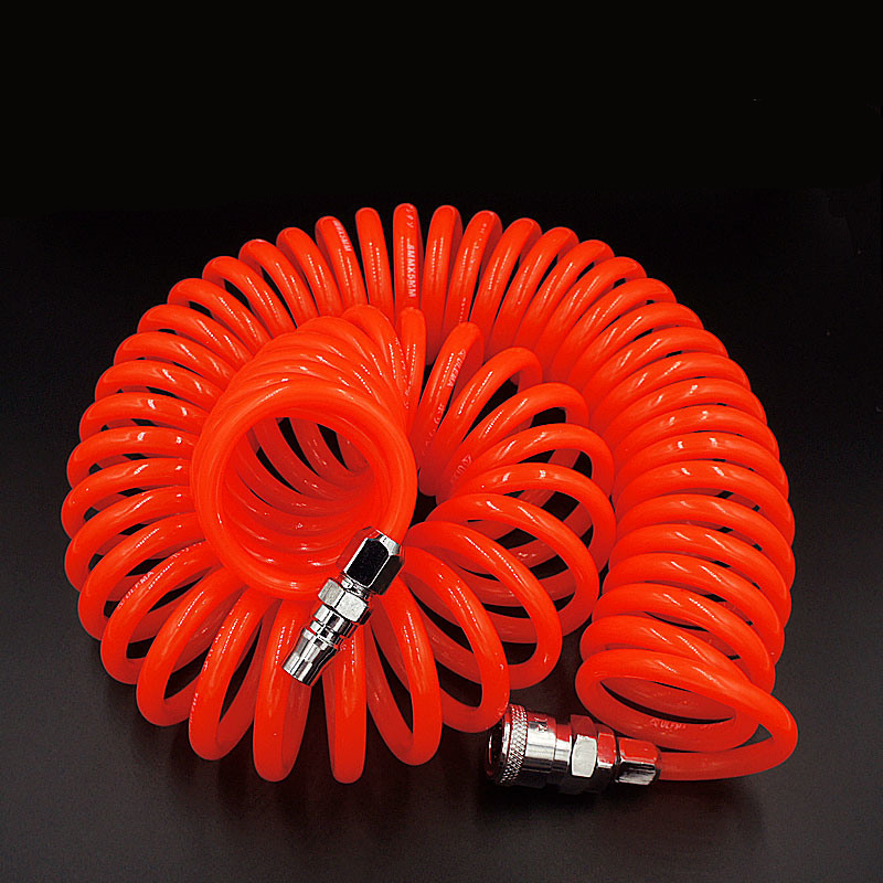 pneumatic spring pipe PU air hose high pressure hose with quick couple 12M 10X6.5mm color random to ship high quality 15mt pneumatic hose with 5 8 quick couplin spring trachea quick coupler air toube page 2