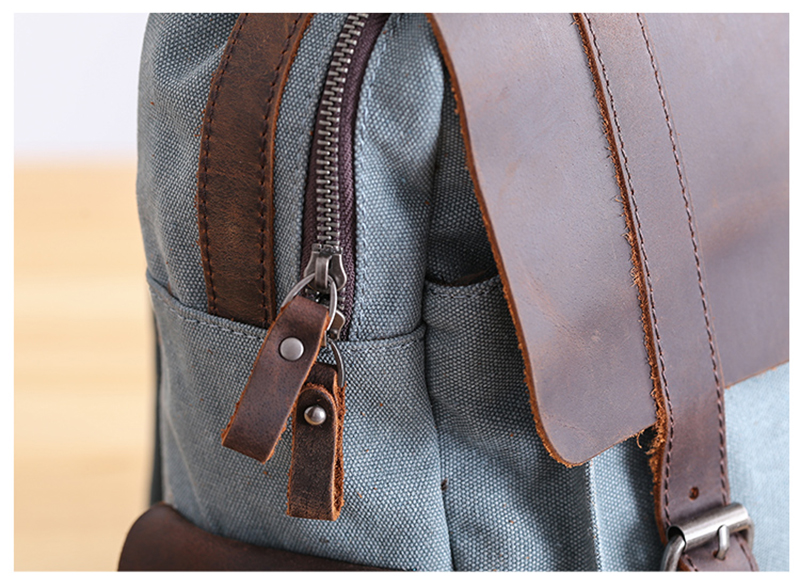 Zipper of the Manitoba Small Canvas Backpack