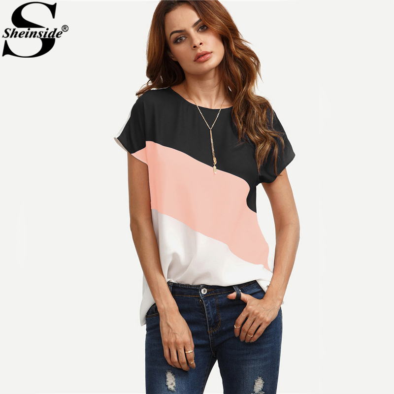 Sheinside Cut And Sew Patchwork Workwear Tops Color Block Casual Blouse Multicolor Short Sleeve Women Summer Tops Blouse