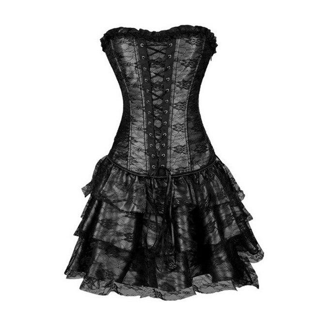 X Sexy femmes dentelle robe de soirée Steampunk Corselet pousser gothique Shapers corps taille formateur Corsets et Bustiers