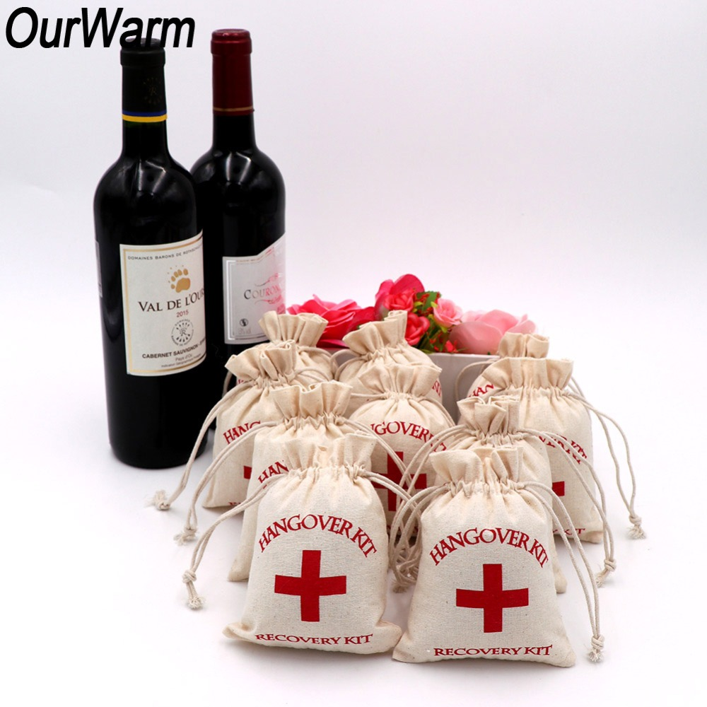 100pcs 4 x6 Hangover Kit Glitter Red Cross Cotton Muslin Bags Wedding Favors Gifts Gift Wrap