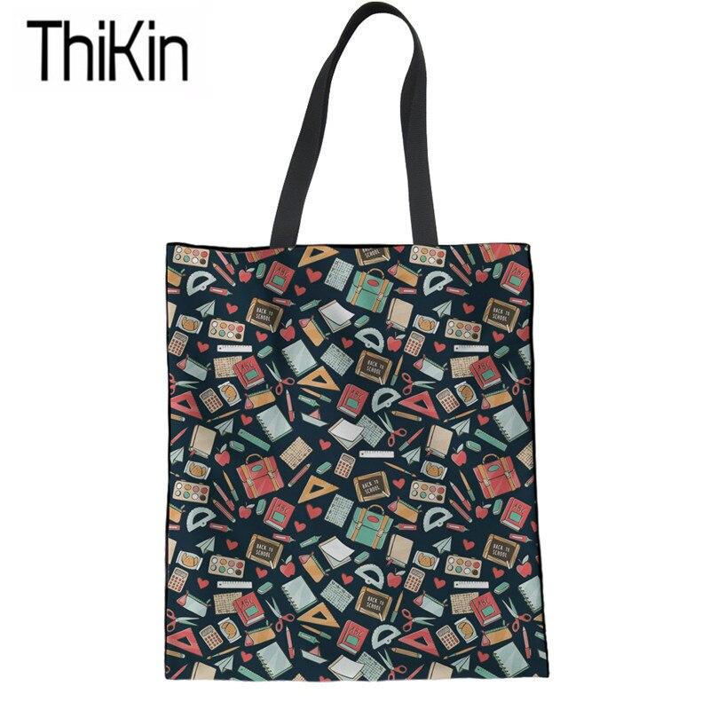 THIKIN Canvas Tote Bags For Women Cartoon Teacher Books Printing Shopping Bags Large Ladies Shoulder Shopper Bag Girls Book Bags