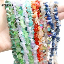 Wholesale Gravel Irregular Shape 5 -8 MM Natural Stone Beads For Jewelry Making Crystal Agat DIY Bracelet Necklace Strand 34