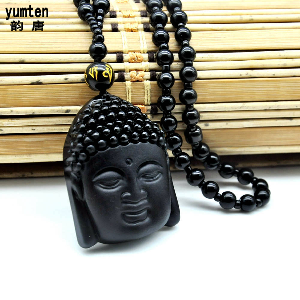 Yumten Nature Obsidian Stone Buddha Necklace Pendant Colar Masculino Charms For Jewelry Making Amulets And Talismans Sieraden