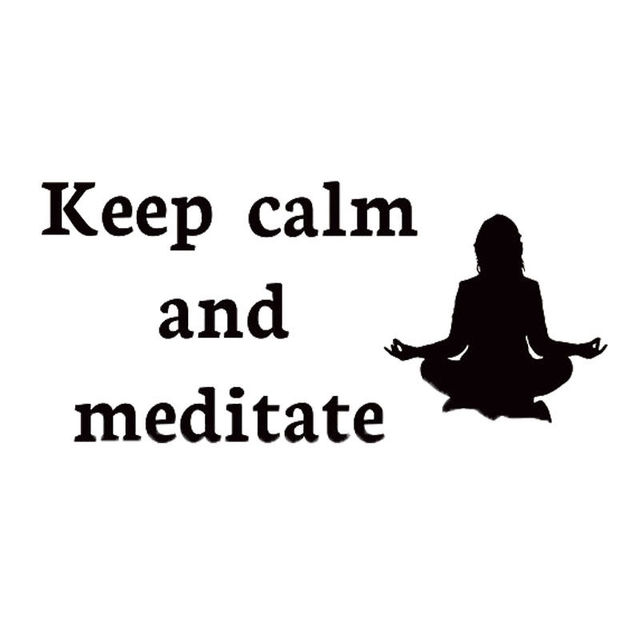 Keep Calm And Meditate Quote Wall Decals Girl Doing Yoga Art Sticker Wallpaper Vinyl Waterproof Decoration