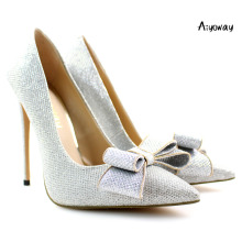 Aiyoway Elegant Women Ladies Bow Pointed Toe High Heel Glitter Pumps Wedding Party Dress Shoes Silver Slip On pumps women shoes