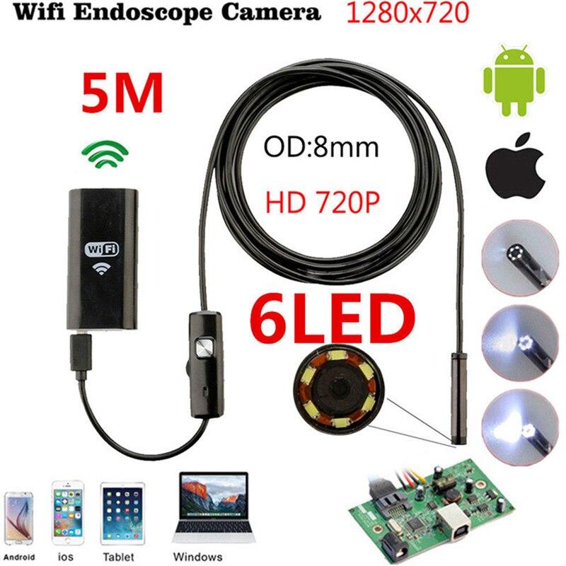 5M Wifi Endoscope Camera 8mm Fake Camera Android HD Iphone Borescope Inspection USB Endoscope Camera Wifi For IOS Android leshp wifi endoscope camera hd 2mp 8mm android hard wire ip67 endoscope camera 1 2 3 5m wifi distance for iphone android ios pc