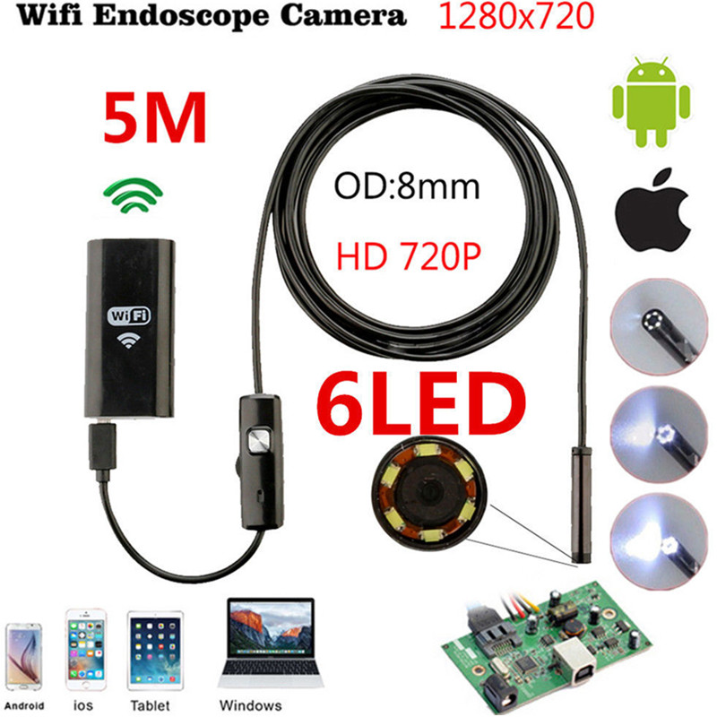 5M Wifi Endoscope WIFI Camera 8mm Fake Camera Android HD Iphone Borescope Inspection USB Endoscope Camera Wifi For IOS Android 3 5m wifi endoscope new camera 8mm hd lens usb iphone android endoscope tablet wireless endoscope wifi softwire