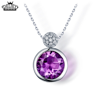 DELIEY Real 925 Sterling Silver Necklace Vintage 11 11mm Round Natural Amethyst Pendant Necklace For Women