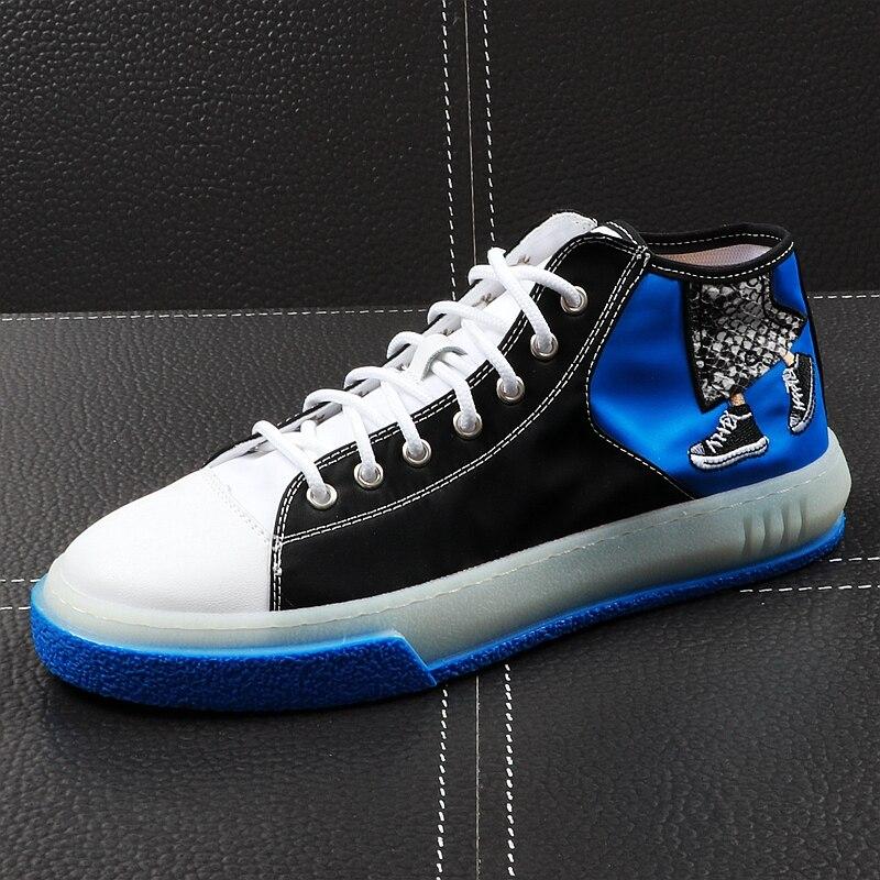 CuddlyIIPanda جديد وصول 2019 الرجال أحذية خفيفة أنيقة الصيف جلدية الكتابة على الجدران طباعة عالية أعلى حذاء فاخر الذكور الشباب رياضية-في أحذية رجالية غير رسمية من أحذية على  مجموعة 1