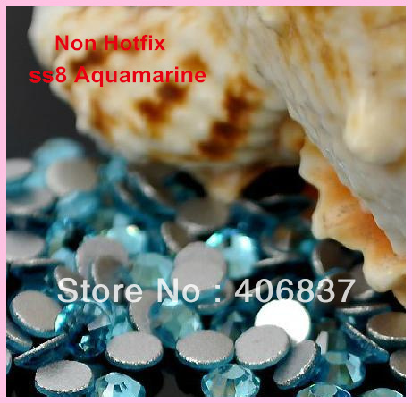 Free Shipping! 1440pcs/Lot, ss8 (2.3-2.5mm) Aquamarine Flat Back Nail Art Non Hotfix Rhinestones