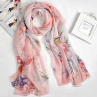 100 Real Silk Cachecol Hot Selling Floral Pashmina Silk Scarf Women Shawl 175x110cm Large Size Echarpes