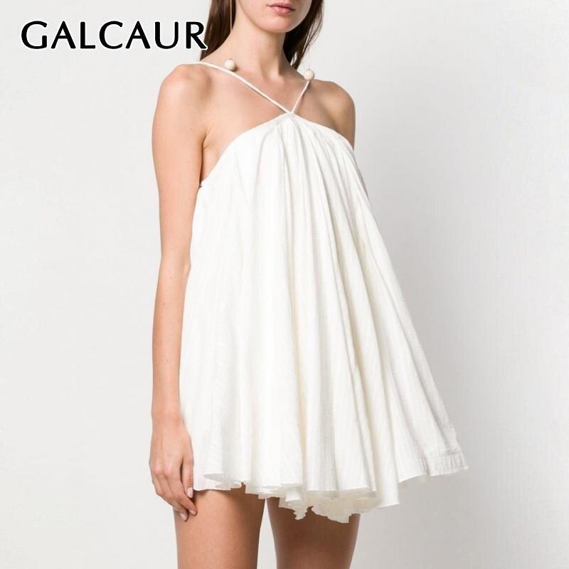 GALCAUR Off Shoulder Sexy Dress For Women Sleeveless Backless Bandage Oversized Mini Dresses Female Summer 2019