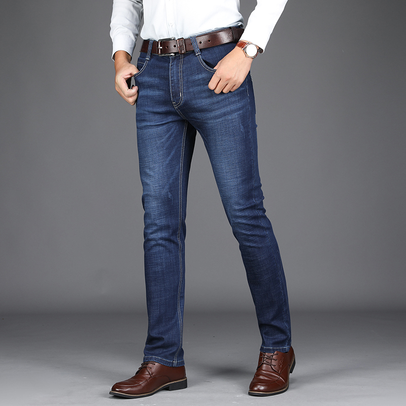 Very Good Quality 2018 New Business Stretch Men Jeans Fashion Classic Smart Casual Solid Straight Pants Denim Trousers 40 42 801