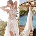 Estilo Praia Chiffon Halter Backless Sexy Lace Marfim Vestidos de Baile Vestidos Formais Vestido de Festa de Formatura Vestido Vestido 2016