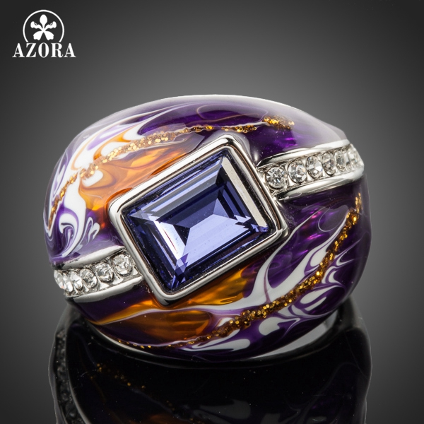 AZORA Royal Design White Gold Color Stellux ավստրիական Crystal Multicolour Oil Painting Pattern Ring TR0092