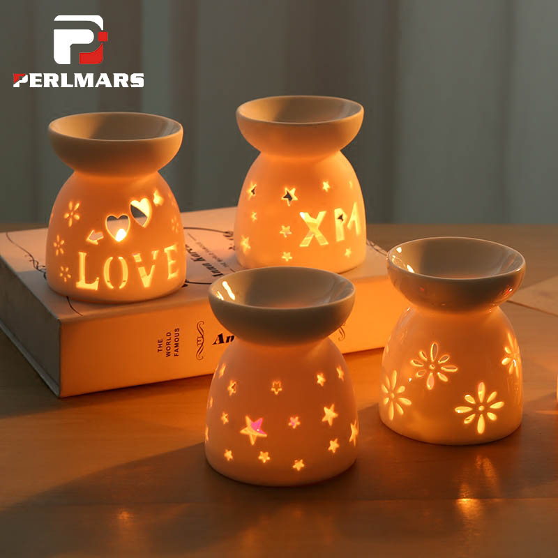 30ml Creative Ceramic Hollow Heart Love Aromatherapy Dispenser Furnace Stove Burner Candle heating Star Essential Oil Aroma Lamp