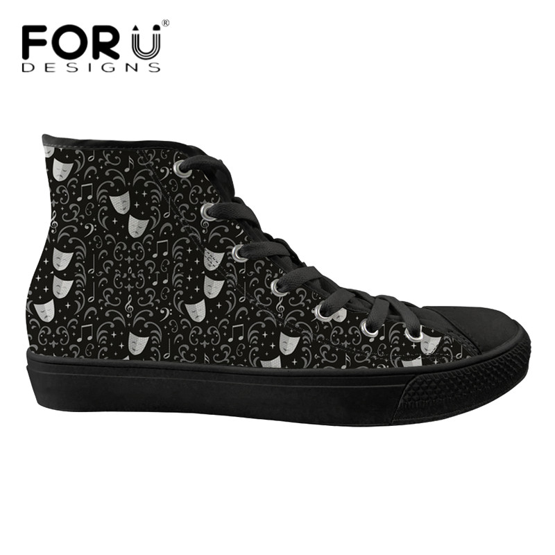 FORUDESIGNS Theater Damask Print Black Sneakers Casual Women High Top Vulcanize Shoes Fashion Students Girls Spring Mesh Flats