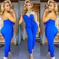 Mono azul elegante mono profundo V body camisetas para mujer de manga larga de las mujeres mono pantalones largos combinaison femme bodys