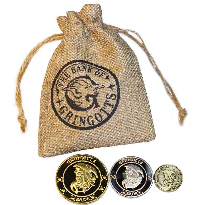 3 Metal Coins 1 Bag HP Wizard Potters Bank Kids Harried Students Fans Xmas Birthday Gift
