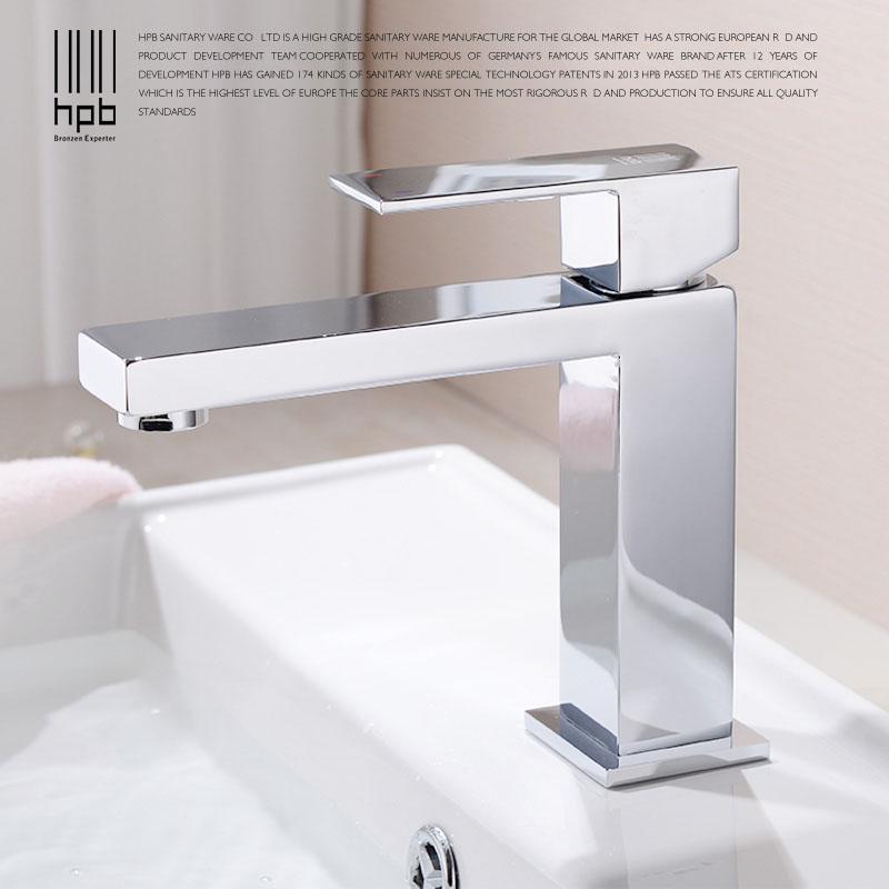 HPB Brass Basin Faucet Hot and Cold Water Single hole Single handle Sink Bathroom Mixer Tap grifos para lavabos HP3037 hpb square brass basin faucet hot and cold water single hole handle sink bathroom faucets mixer tap grifos para lavabos hp3037