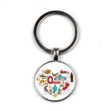 2019 New National Style Key Chain Oman Impressionist Keychain Glass Round Keyring Silver Black Bronze Keychain Jewelry(China)
