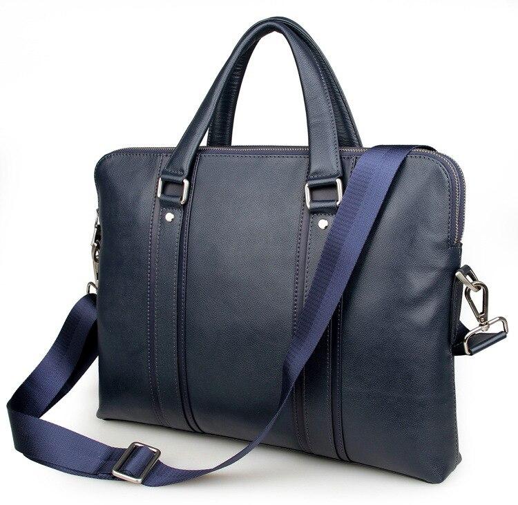 Nesitu High Quality A4 Blue Genuine Leather Office 14'' Laptop Men Briefcase Portfolio Business Man Messenger Bags M7325