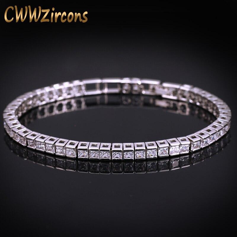 Cwwzircons marca quadrado 3mm zircônia cúbica tênis pulseiras para mulher cor de ouro branco princesa corte cz casamento jóias cb169