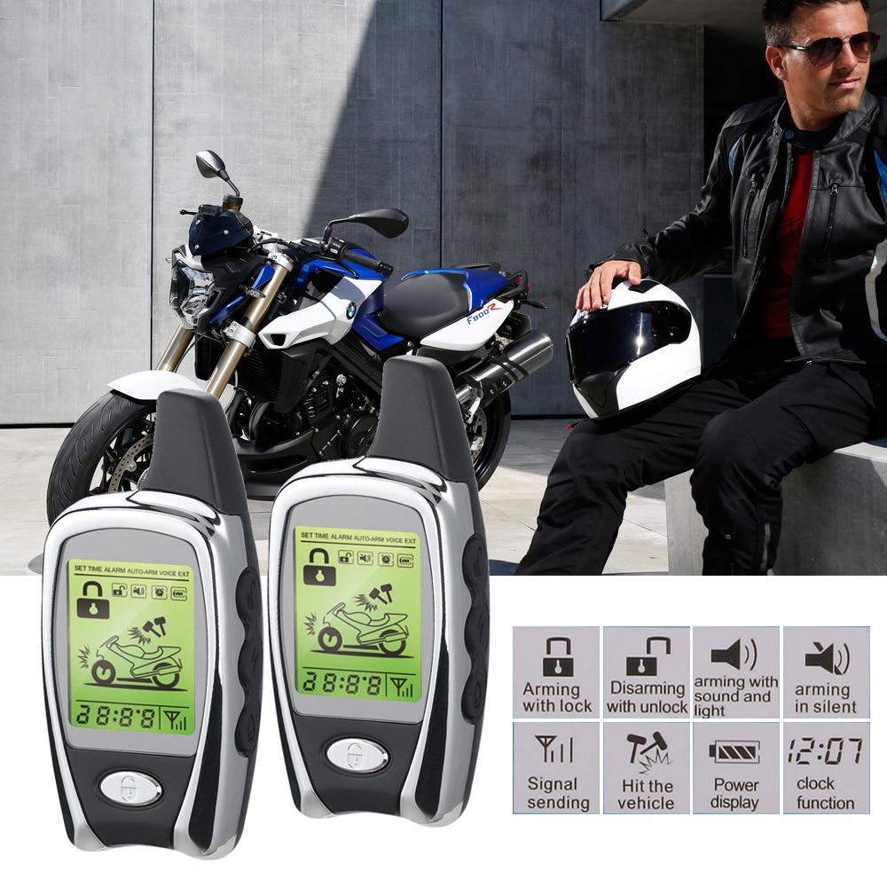 Мотоцикл Сигнализация мотоцикл 2 способ светодиодная сигнализация для защиты от кражи длинные дистанции дистанционного запуска двигателя