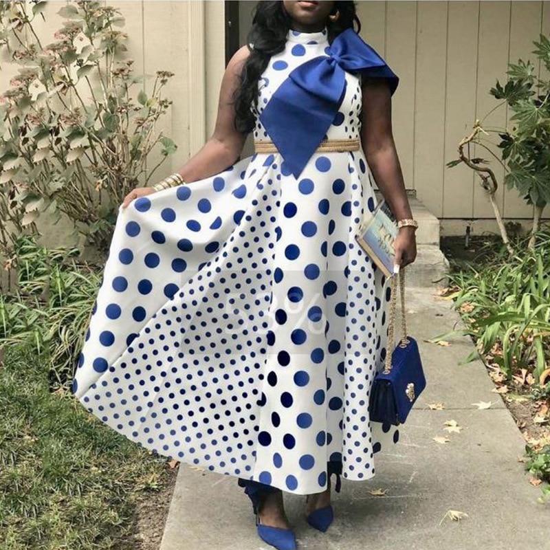 2019 African Dresses Women Digital Printing Fashion Short-Sleeve Dashiki Plus Print Bow Point Patchwork Big Dress