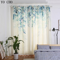 YO CHO hot garden spring willow leaves window curtains for living room pastoral small fresh ready made Chinese window curtains