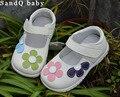 Девушки обувь из натуральной кожи черный мэри джейн с цветами белая роза детская обувь хорошего качества фондовых маленьких детей красивой обуви