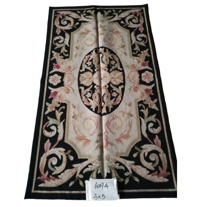 Livraison gratuite 3'x5' Aubusson tissage tapis faits à la main laine tapis 100% nouvelle-zélande laine noir tapis pour la décoration de la maison