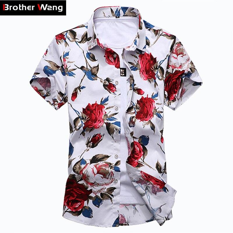 Été Nouvelle Hommes de Casual Fleur Hawaïenne Chemise Personnalité De La Mode Modèle Mince Chemise À Manches Courtes Hommes Marque Vêtements 6XL 7XL