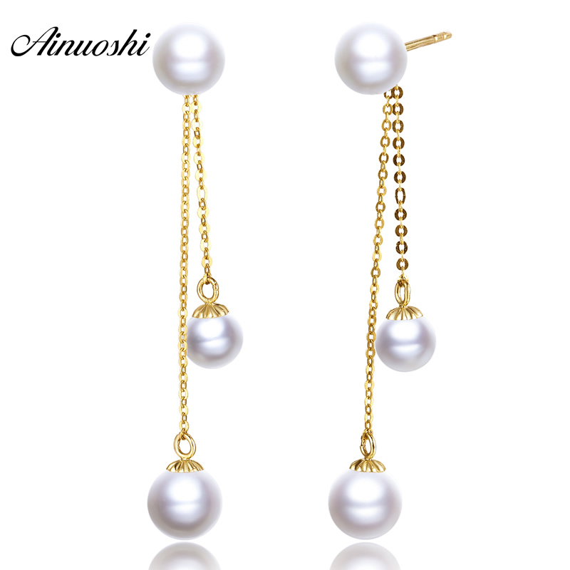 AINUOSHI 18K Yellow Gold Drop Earrings Natural Cultured Freshwater Pearl Pearl Women Wedding Long Dangle Ear