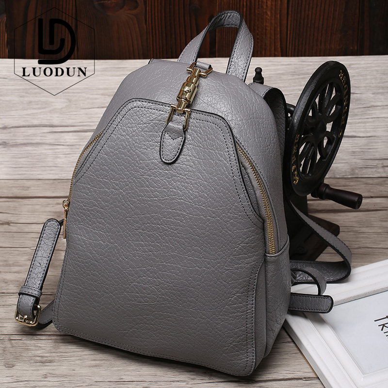 LUODUN Brand casual spring and summer Genuine Leather backpack first layer of cowhide leather ladies travel backpack school bag aetoo spring and summer new leather handmade handmade first layer of planted tanned leather retro bag backpack bag