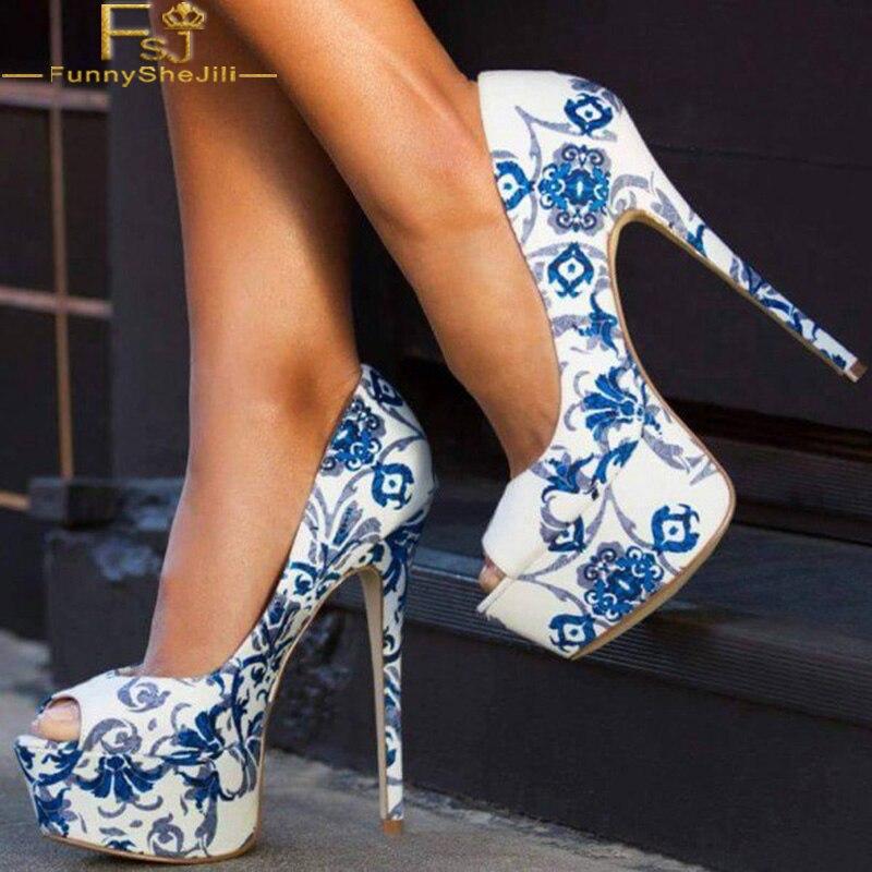 Chaussures Porcelaine Toe Talons Chinois Et Mince Plate Mode Fsj De Soirée Blanc Peep Floral forme Bleu Fsj01 Style Haute Pompes Parti 1UgqPwxp0