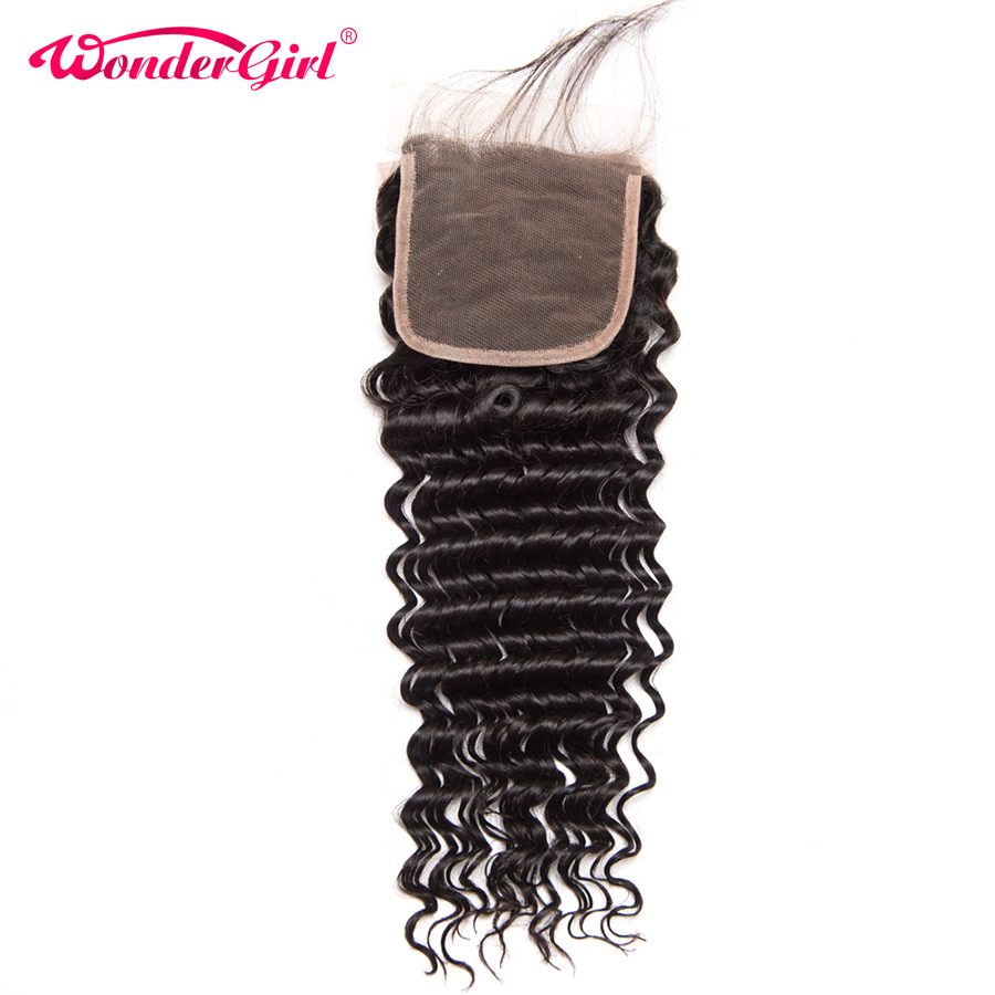 Wonder Girl Brasilian Deep Wave Closure Med Baby Hair Pre Plockad Snörning Snitt 100% Human Hair Bundles Remy Hair No Shedding