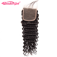 Wonder girl Brazilian Deep Wave Closure With Baby Hair Pre Plucked Lace Closure 100% Human Hair Bundles Remy Hair No Shedding
