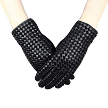 Womens Sheepskin Genuine Leather Gloves Elegant Hand Woven Autumn Winter Warm Plush Fashion Driving Female XC-206