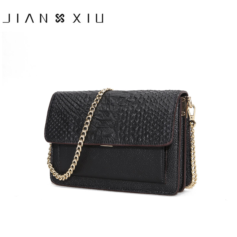 JIANXIU Brand Fashion Women Messenger Bags Crocodile Design cowhide Genuine Leather Ladies Shoulder Chain Crossbody Bag 2017 women shoulder bags leather handbags shell crossbody bag brand design small single messenger bolsa tote sweet fashion style