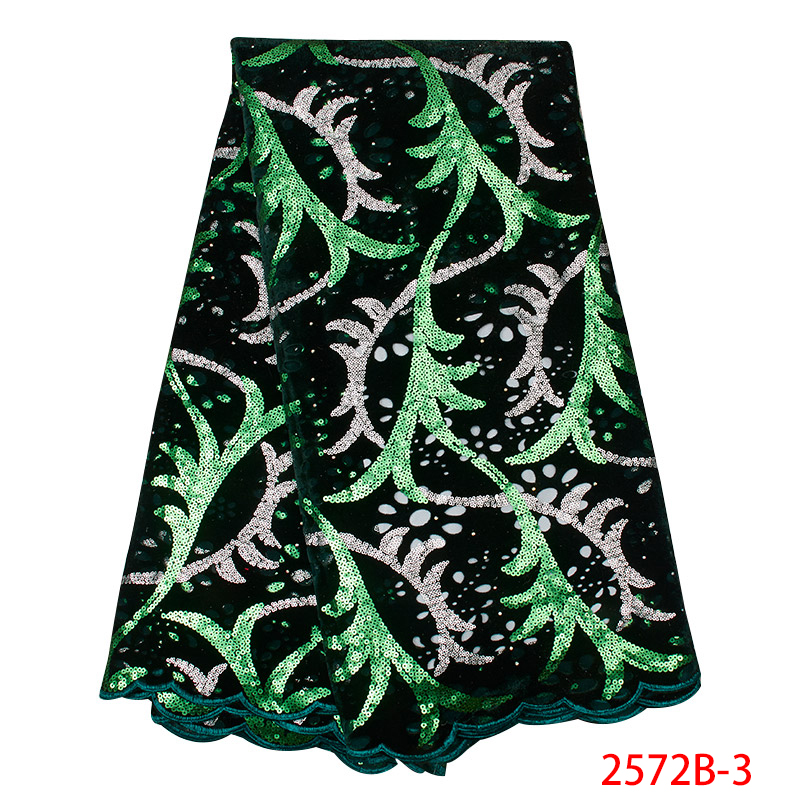 Green Color Sequins Lace Fabric High Quality 2019 African Tulle Lace Fabric with Sequin Nigerian Lace