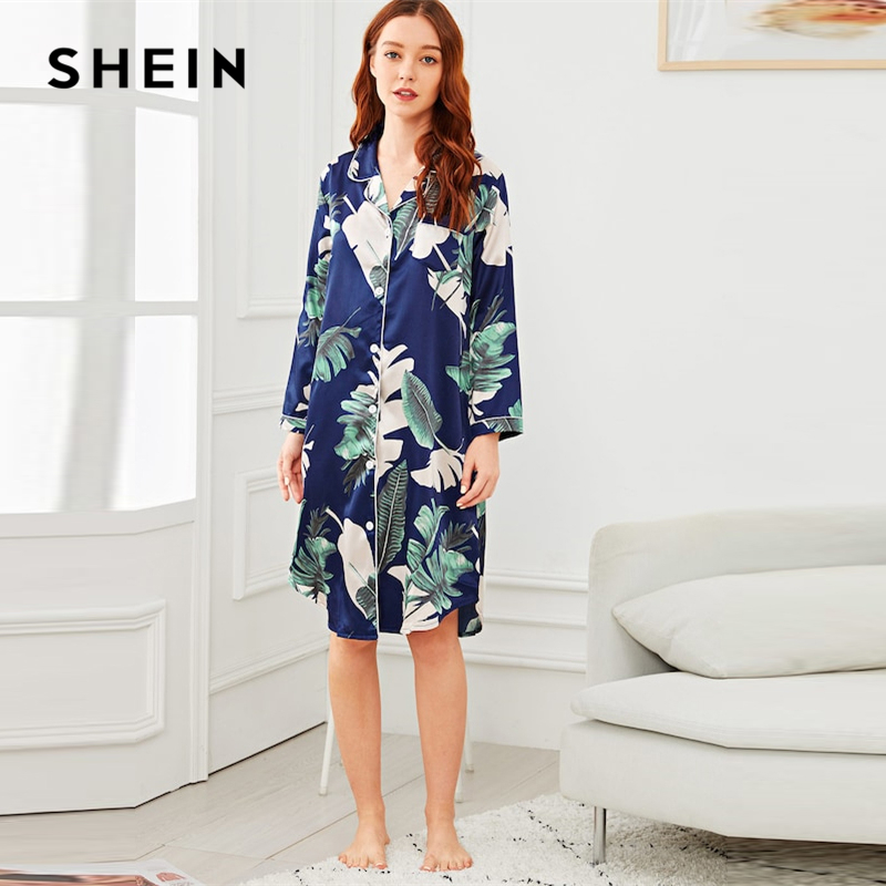 01327dc924 SHEIN Multicolor Tropical Print Button Up Pocket Night Dress Women Long  Sleeve Nightdress Sleepwear For Women
