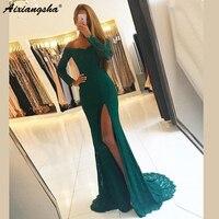 Green Lace Evening Dresses robe de soiree Sweep Train Side Split Beaded Mermaid Formal Party Gown Long Sleeve Evening Dress